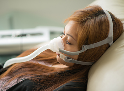 Young woman with CPAP