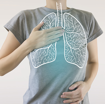 person in gray t-shirt with image of lungs