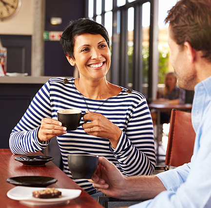 Woman and man at coffee shop